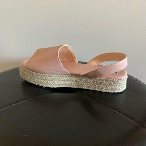 Light Pink Wedged Espadrille Sandals